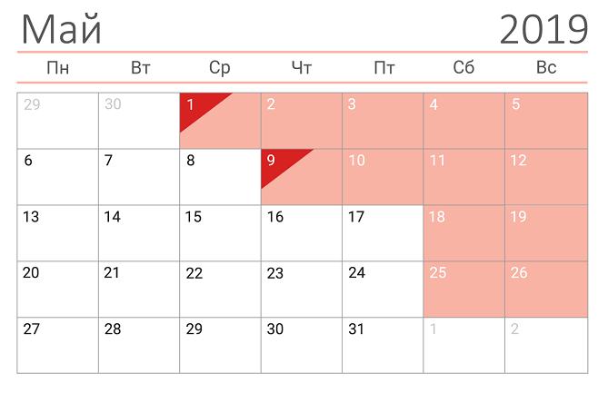 Календарь майских праздников 2019